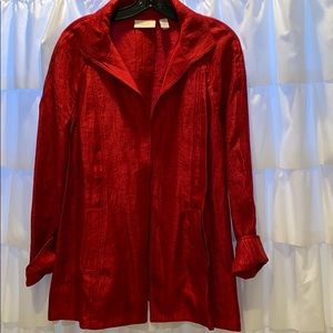 CHICO's open red long sleeve over piece!
